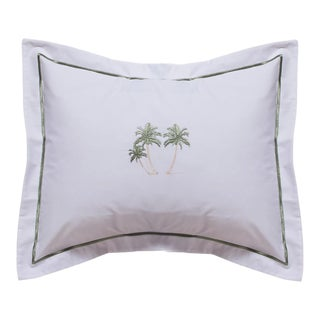 Three Palm Trees Boudoir Pillow Cover, Embroidered For Sale