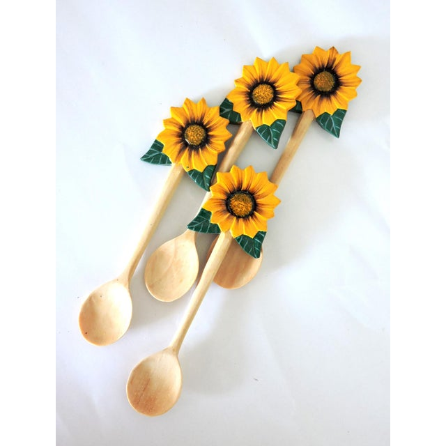 Set of four gorgeous yellow sunflower dessert or ice cream spoons just perfect for those summer days. Hand made from a...