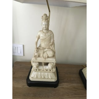 Contemporary Resin Buddha Asian Lamps With Shades - a Pair Preview