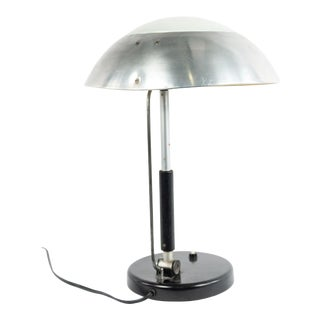 German Bauhaus Brushed Aluminum Table Lamp For Sale