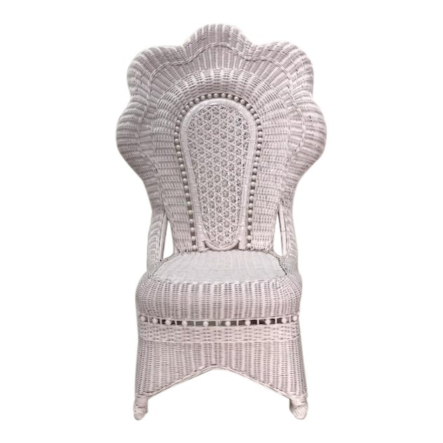 Wicker Victorian Scalloped Edged Accent Side Chair For Sale