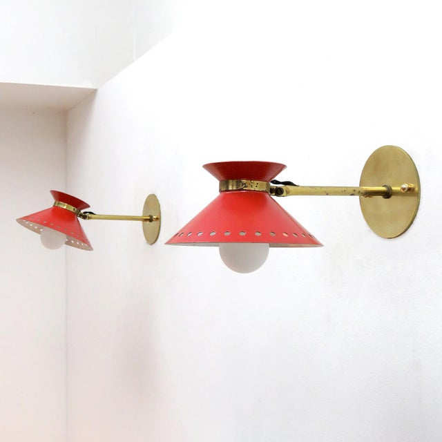 1950s Pair of Red Arlus Wall Lights, 1950s For Sale - Image 5 of 11