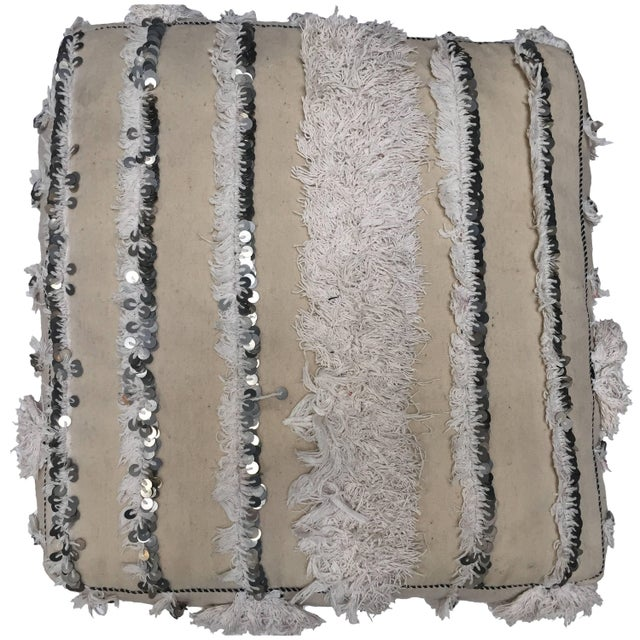 Moroccan Wedding Floor Pillow Pouf with Silver Sequins and Long Fringes For Sale - Image 10 of 10
