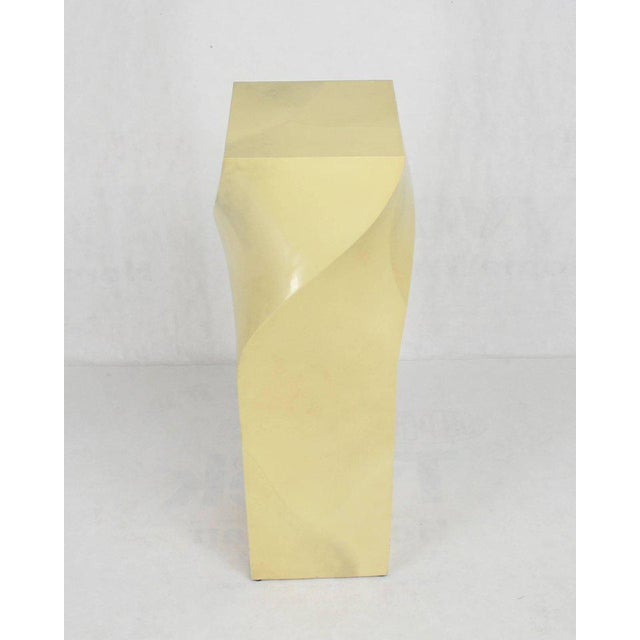 Mid-Century Modern Twisted 14x14 Square Pattern Faux Goatskin Finish Modern Pedestal Stand For Sale - Image 3 of 11