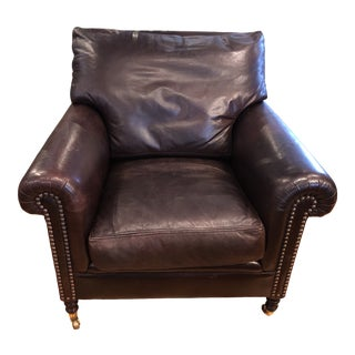 George Smith Leather Roll Arm Easy Chair With Brass Nailhead Trim For Sale