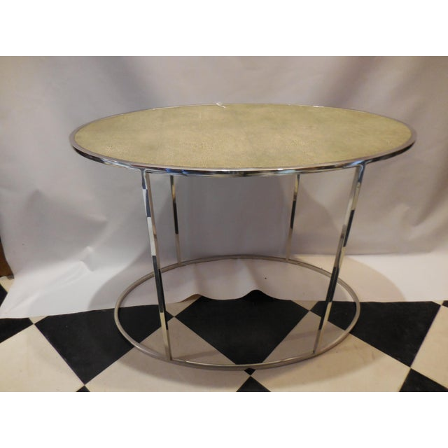 Theodore Alexander Theodore Alexander Oval Shagreen Top Table For Sale - Image 4 of 6