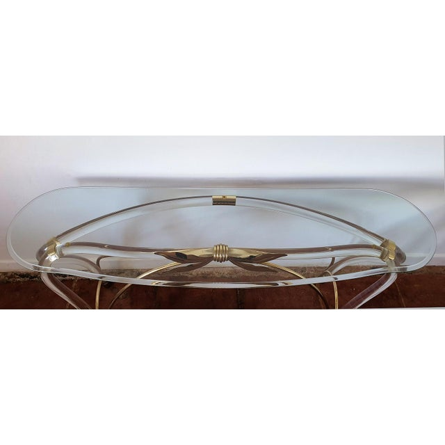 Large Mid-Century Modern Organic Glass Brass & Lucite Console Table, Spain 1970s For Sale - Image 12 of 13