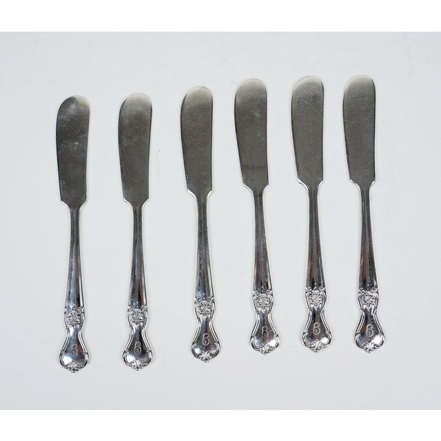 Metal Antique Silver Plate Flatware, Service for 8 - Set of 59 For Sale - Image 7 of 8
