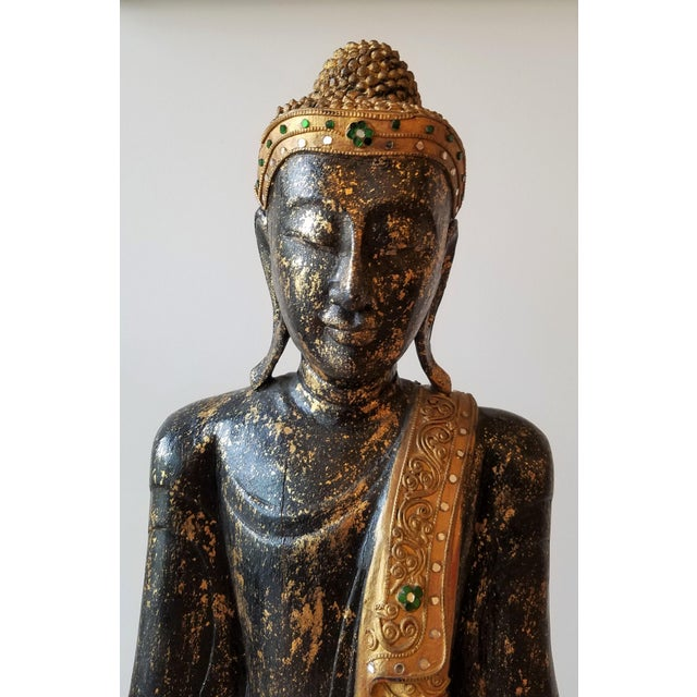 Mid 20th Century Hand Painted Carved Wood Standing Buddha For Sale In Seattle - Image 6 of 13