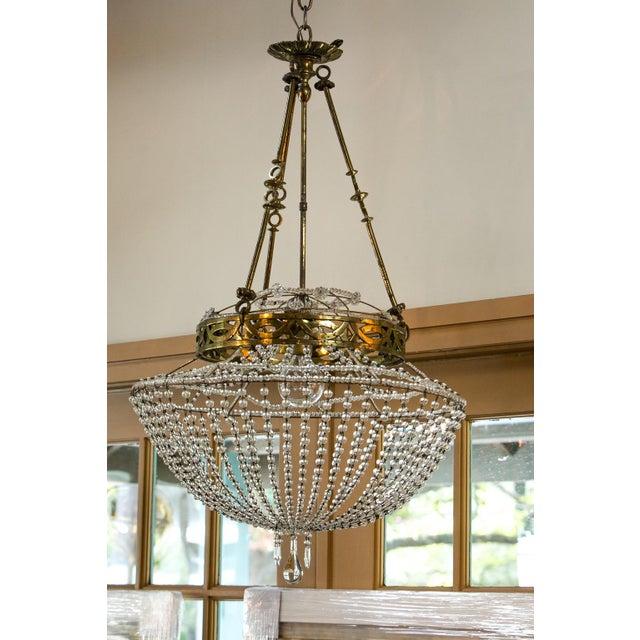 Gold Vintage Glass Beaded Basket Chandelier For Sale - Image 8 of 8