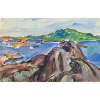 Stephane Magnard, Vintage French Watercolor Seascape - Rocky Coastline For Sale