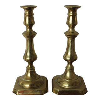 Early 20th Century English Brass Candlestick Holders - a Pair For Sale
