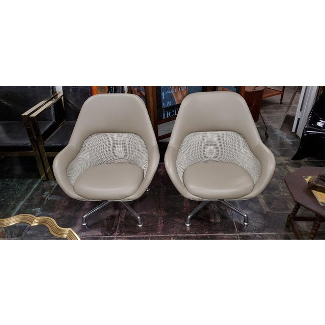 Coalesse for Steelcase Gray Leather Upholstery Lounge Chairs- A Pair For Sale - Image 13 of 13