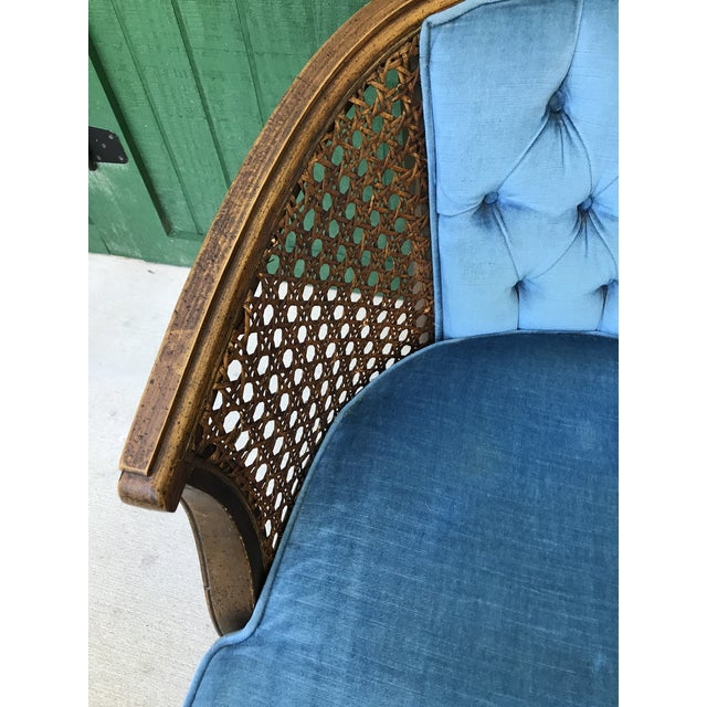 Incredible Mid Century Blue Velvet Tufted Back Cane Barrel Chair Alphanode Cool Chair Designs And Ideas Alphanodeonline