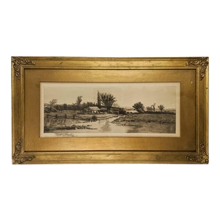 19th Century Landscape Etching Signed by Artist John Hill Millspaugh With Gold Frame, Dated 1889