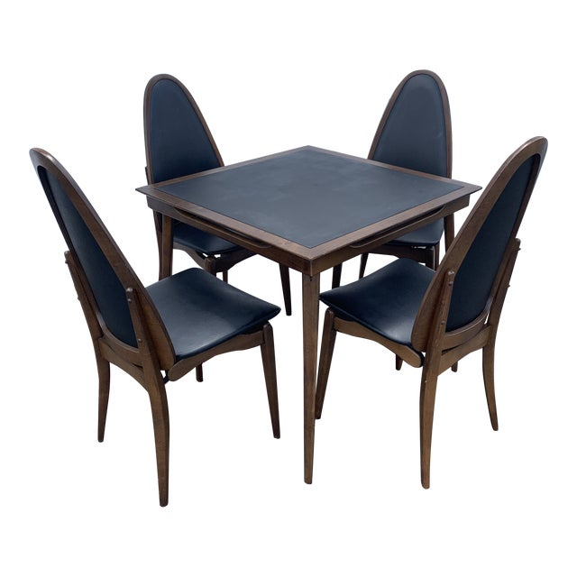 1960's Stakmore Danish Modern Game Table and 4 Chairs - 5 Pieces For Sale