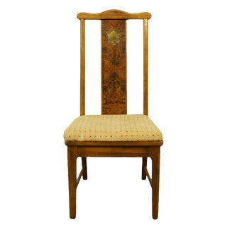 Late 20th Century Bernhardt Furniture Asian Chinoiserie Style Burled Wood Dining Side Chair For Sale