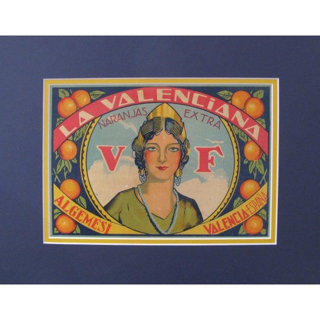 Art Deco 1920's Original Vintage Spanish Fruit Crate Label - La Valenciana - Naranjas Extra For Sale - Image 3 of 3