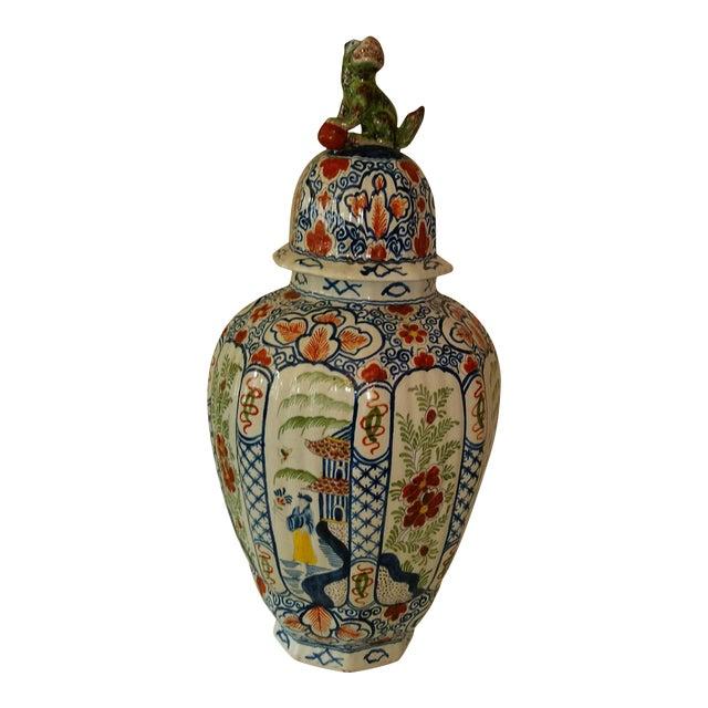 Delft Lidded Ginger Jar For Sale