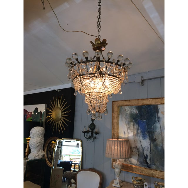 Crystal French 3 Tier Crystal Chandelier For Sale - Image 7 of 13