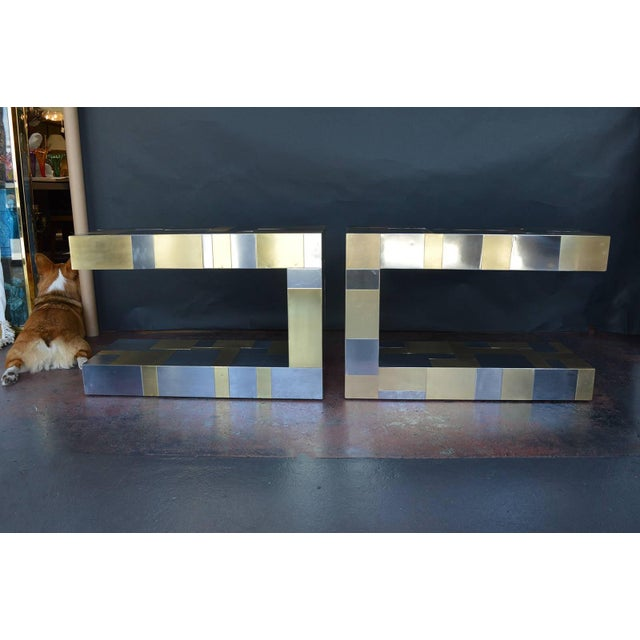 Paul Evans Pair of Paul Evans Cityscape Side Tables For Sale - Image 4 of 9