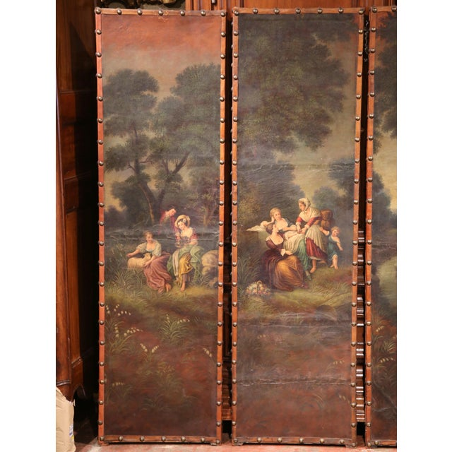 French 18th Century, French Hand-Painted Leather Four-Panel Screen from Lyon For Sale - Image 3 of 11