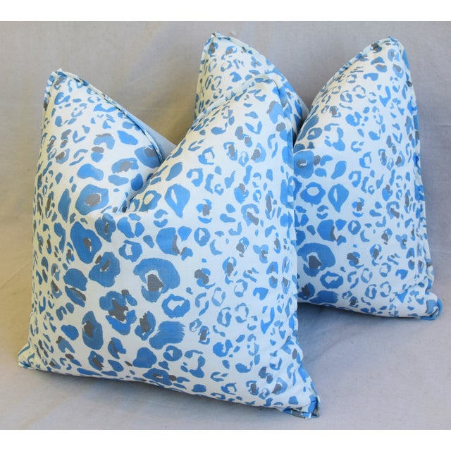 """White Pindler & Pindler Leopard Animal Spot & Velvet Feather/Down Pillows 20"""" Square - Pair For Sale - Image 8 of 13"""