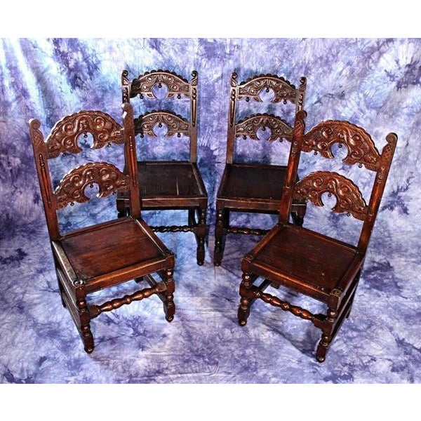 Oak Colonial Revival Dining Chairs - Set of 4 For Sale - Image 7 of 9