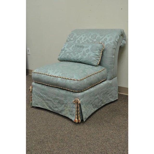 Vanguard Furniture Rolled Back Blue Upholstered Slipper Chair - Image 4 of 11