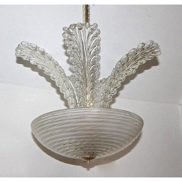 1950s Italian Barovier Murano Glass Leaf Chandelier For Sale - Image 9 of 10