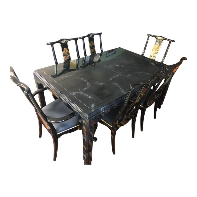 Century Furniture Black Lacquer Asian Dining Set For Sale