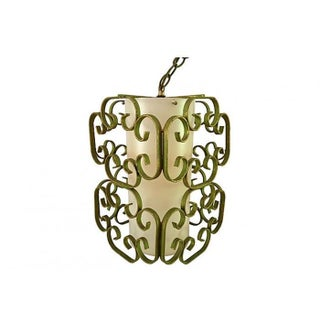 1950's Wrought Iron Pendant Light For Sale