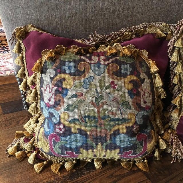Textile Antique Velvet Burgundy & Gold Needlepoint Pillow For Sale - Image 7 of 10