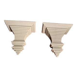 1970s Vintage Italian Stacked Wood Wall Brackets - a Pair For Sale