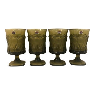 1980s Vintage Avocado Green Noritake Goblets- Set of 4 For Sale