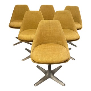 Mid 20th Century Maurice Burke Upholstered Pedestal Chairs- Set of 6 For Sale