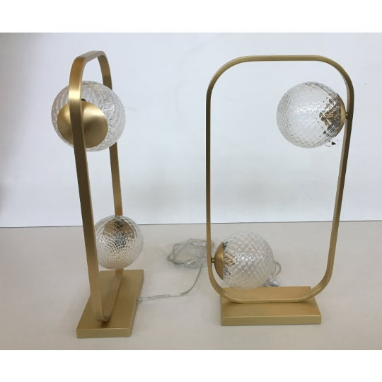 Lot of 2 Vintage Style Table Lamp in Brushled Gold and Murano Glass Balls For Sale - Image 6 of 6