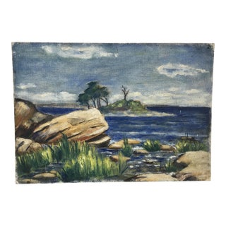 1930s Coastal Landscape Island Oil on Board Painting, Signed Payne For Sale