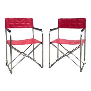 Shigeru Uchida Red Folding X Chairs - a Pair For Sale