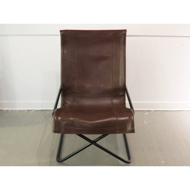 Asian Vintage MCM Uchida Leather Sling Chair For Sale - Image 3 of 11