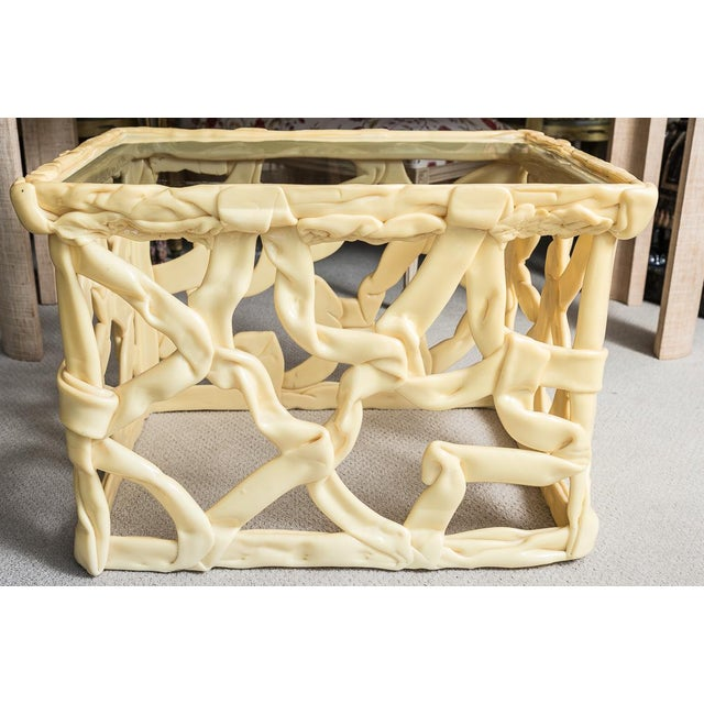 Mid Century Yellow Ribbon Taffy Side Tables, A-Pair For Sale - Image 9 of 11