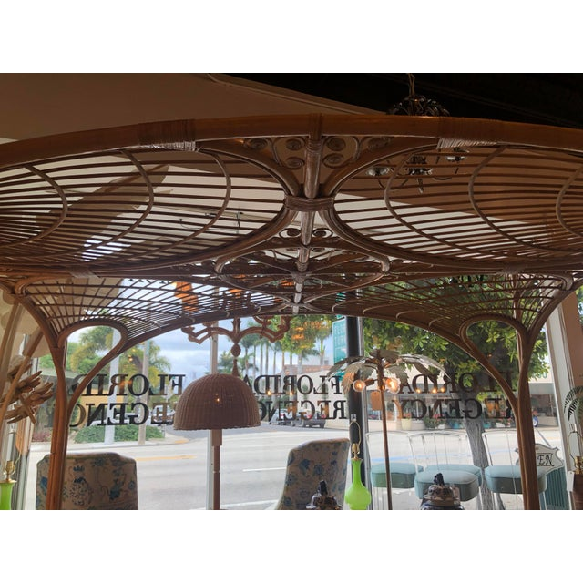 Tan Vintage Tropical Boho Palm Beach Rattan Queen Size Canopy Bed For Sale - Image 8 of 13