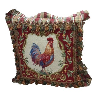 Late 20th Century Rooster Tapestry Needlework Pillow For Sale