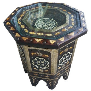 Moroccan Hexagonal Camel Bone and Metal Inlay Wooden End Table For Sale