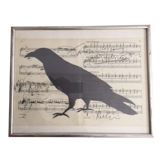 Contemporary Graphite Drawing of a Crow For Sale