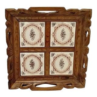 Vintage Carved Wood & Spanish Tile Serving Tray For Sale
