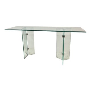 1980s Pace Style Glass Console Table With Chrome Hardware For Sale