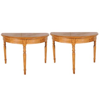 Antique Pine Demi-Lune Tables - A Pair For Sale