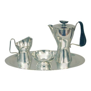 German Wellner Futuristic Design Silver Plated Coffee Set - 4 Piece Set For Sale