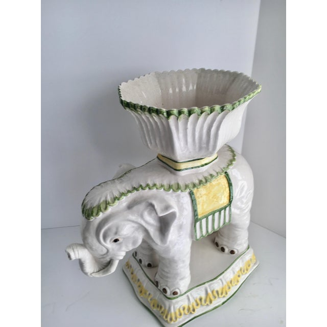Italian Ceramic Elephant Cachepot Planter For Sale In Los Angeles - Image 6 of 7